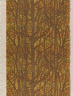 Tracery of tree branches in brown, yellow and orange.