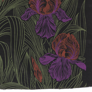 Design of irises in bloom in magenta, red and green.