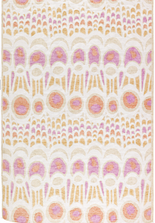 Circles and geometric shapes derived from patterns on a butterfy wing. Orange, yellow, pink and white on natural.