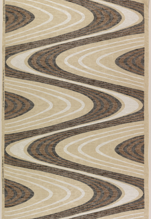 Diagonally swirling lines in black, brown and white on a beige cloth.