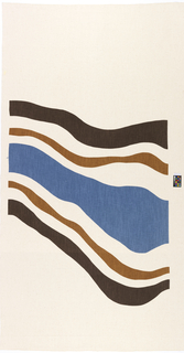 Printed textile with large-scale design of waving lines in two browns and blue on a white ground. The patterns on A and B are different though related and have been planned so the pattern continues when they are seamed together.