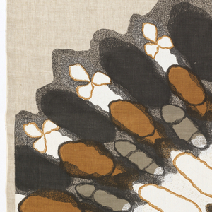Printed textiles A and B each contain half of an oval radiating design printed in black, gray, brown and white on a natural linen foundation.