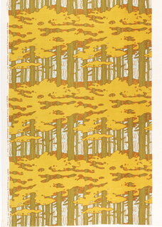 A repeating design of trees, trunks and leaves, in yellow, brown, green, and blue.