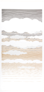 Clouds in front of horizon lines in white, dark grey and brown on a semi-transparent foundation. A. and B. and different but related designs.