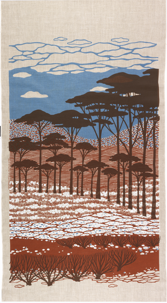 Silhouetted trees against ground and hills and sky arranged as bands of pattern. Blue, brown, rust and white on neutral. Both A and B panels are needed to complete the image.
