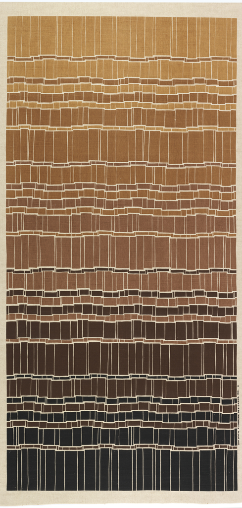 Bands of color in varying heights broken by white lines as if design was of folded ribbons. Black and four browns.