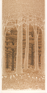 Printed textile with a view of forest, with leafy canopy meeting at the top, trunks receding into distance in middle, and flowers in the foreground. In black, tan and white.