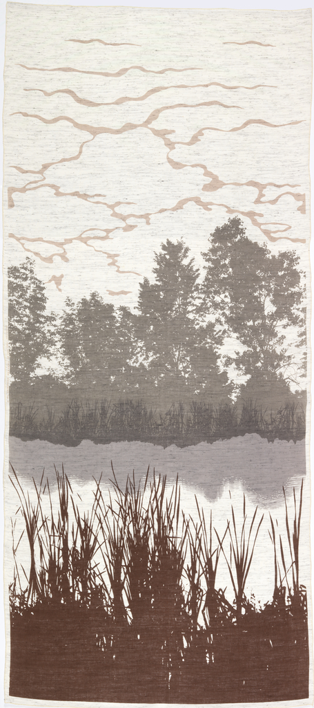 Landscape of grasses, water, trees and sky. Brown and 2 grays.