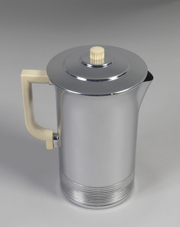 Covered cylindrical water pitcher with a white plastic handle and knop.