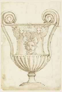 Vertical rectangle with drawing of a footed classical style vessel with tall scrolling handles that project high above the rim. The lower half of the body is covered in elongated gadrooning. The upper portion has a central human mask, with leaves instead of hair. Below the rim is a festoon of swags, bull heads, drapery, and flowers.