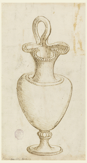 Vertical rectangle with a footed pitcher seen from the front. The vase shaped body is indecorated. A small band of gadrooning where the foot meets the body.  The handle curves above a trefoil spout and elongated neck