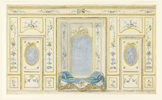 Interior wall decoration for a salon with gold molding, oval and rectangular mirrors/panels; decorations include floral rinceau with bows and arrows throughout.