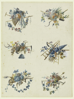 Two columns of six gardening trophies. Upper left: cornucopia filled with plants and a pumpkin, a crossed pick and hoe; upper right: a basket filled with plants and fruit, with crossed scythe and shovel; center left: a water jug, hoe, scythes, planter and flowers; center right: a triangular tree, wild flowers, scythe, ladders; lower left: wheelbarrow holding vegetables including turnips, squash and cabbages; lower right: a cornucopia filled with fruits and flowers, a crossed rake and scythe.