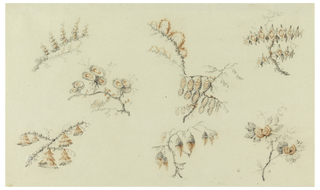 Disposed in three horizontal rows. Several groups of fantastical flowers on branches and one naturalistic group in lower right, all in red and black.