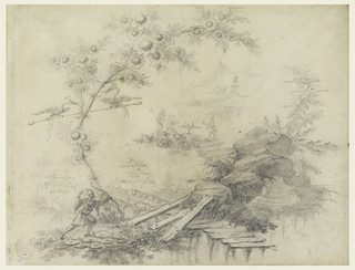 A tree with two birds upon a pole is shown at left.  A Chinese with a bow is running at its base toward some decayed planks leading to rock.  Motifs of Chinoiserie landscapes are distributed in the middle distance, in the center of which a Mandarin gets his tea on top of a tree.  The zigzag boardwalk leads on from there toward a tent with worshippers before an altar.