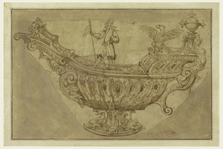 A fantastical ship is shown from the side, supported with a foot surrounded by dolphins. Ornaments, including scrolls and acanthus leaves, cover all surfaces. A lansquenet (soldier) stands on the gunwale (top of boat). A spread eagle, caryatid and orb ornament the quarterdeck at rear, above a scrolling handle.
