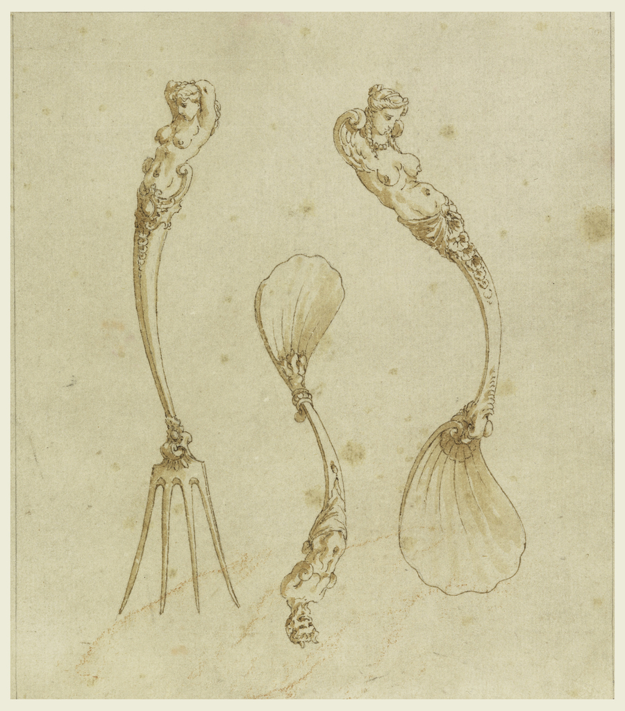 Sheet shows three pieces of cutlery: a four-tined fork topped a female herm figure at left, a spoon with a scallop shaped bowl topped with a female herm figure with wings at right, and at center, an inverted spoon, also with a scalloped bowl and a satyr herm figure.