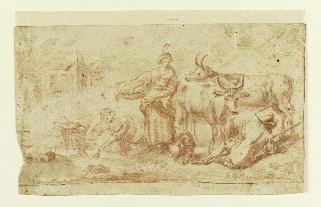 Two women doing washing by a stream are shown conversing with a cowherd, lying on the ground, back to the spectator; near him are two cows and a dog; a cottage in the left distance.