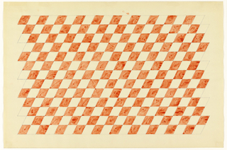Red checkerboard pattern of parallelograms on white background.
