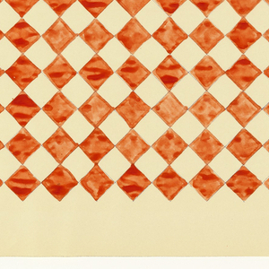 Red diamond checkerboard pattern on white background.