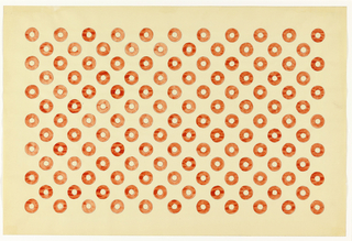 Alternating pattern of red circles with open centers (doughnut-like) on white background.