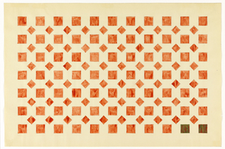 Alternating pattern of rows of unconnected red diamonds and squares on white background.