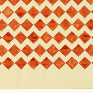Pattern of connecting red diamonds forming thirteen rows on white background.
