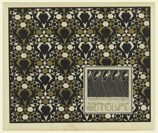 Abstract geometric pattern of diamonds, hearts, flowers in black and gold on cream, creating a kaleidoscope effect. Box in lower right contains bird's head and leaf on stems motif in black with text in gold: VORSATZPAPIER / STERNBLUME. Verso:  Title of portfolio in text block in gray, upper left.  Pattern of flowers, squares, triangles, circles in gray on cream.
