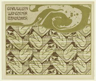 Print, Donauwellen Wanddekor fur ein Badezimmer (Danube Wave Wall Decoration for a Bathroom), plate 4, in Die Quelle: Flächen Schmuck (The Source: Ornament for Flat Surfaces)