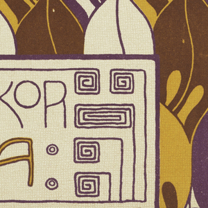 Stylized leaves in brown, purple, orange and cream. Greek key meander in purple around text block in lower center; purple and orange text: WANDDEKOR / SCYLLA. Verso: Title of portfolio in text block in gray, upper left. Vertical rows of donut-shapes in gray on cream.