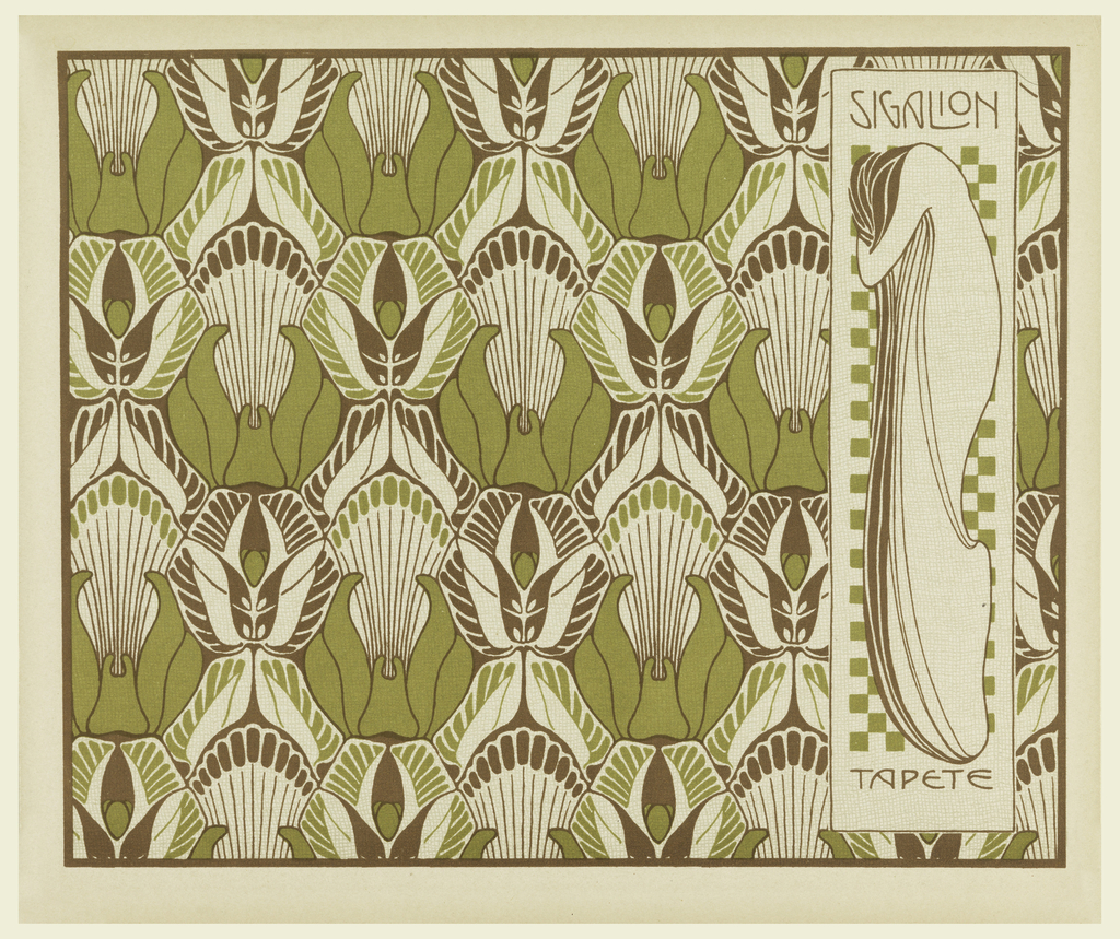 Print, Sigalion Tapete (Sigalion Wallpaper), plate 9, in Die Quelle: Flächen Schmuck (The Source: Ornament for Flat Surfaces)