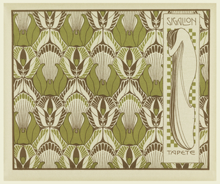 Stylized cattails and leaves in chartreuse and brown. In text box at right, profile standing woman in long rose with head on arm in brown and chartreuse against checkered background : SIGALION / TAPETE. Verso: Title of portfolio in upper left in gray. Vertical curving bands of leaf pattern in gray on cream.