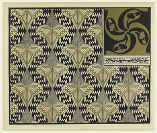 Print, Tapete Goldene Schmetterlinge (Golden Butterfly Wallpaper), plate 12, in Die Quelle: Flächen Schmuck (The Source: Ornament for Flat Surfaces)