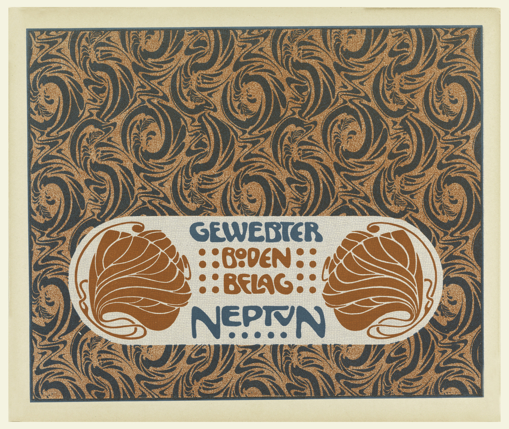 Abstract swirling motif in gray and orange-red. Stylized sea plant motif in orange-red on either side of title in oval text block, lower center; text in orange-red and turquoise:  GEWEBTER / BODEN / BELAG / NEPTUN. Verso: Portfolio title in gray in text block, upper left.  Vertical rectangles alternating with small squares in gray on cream.