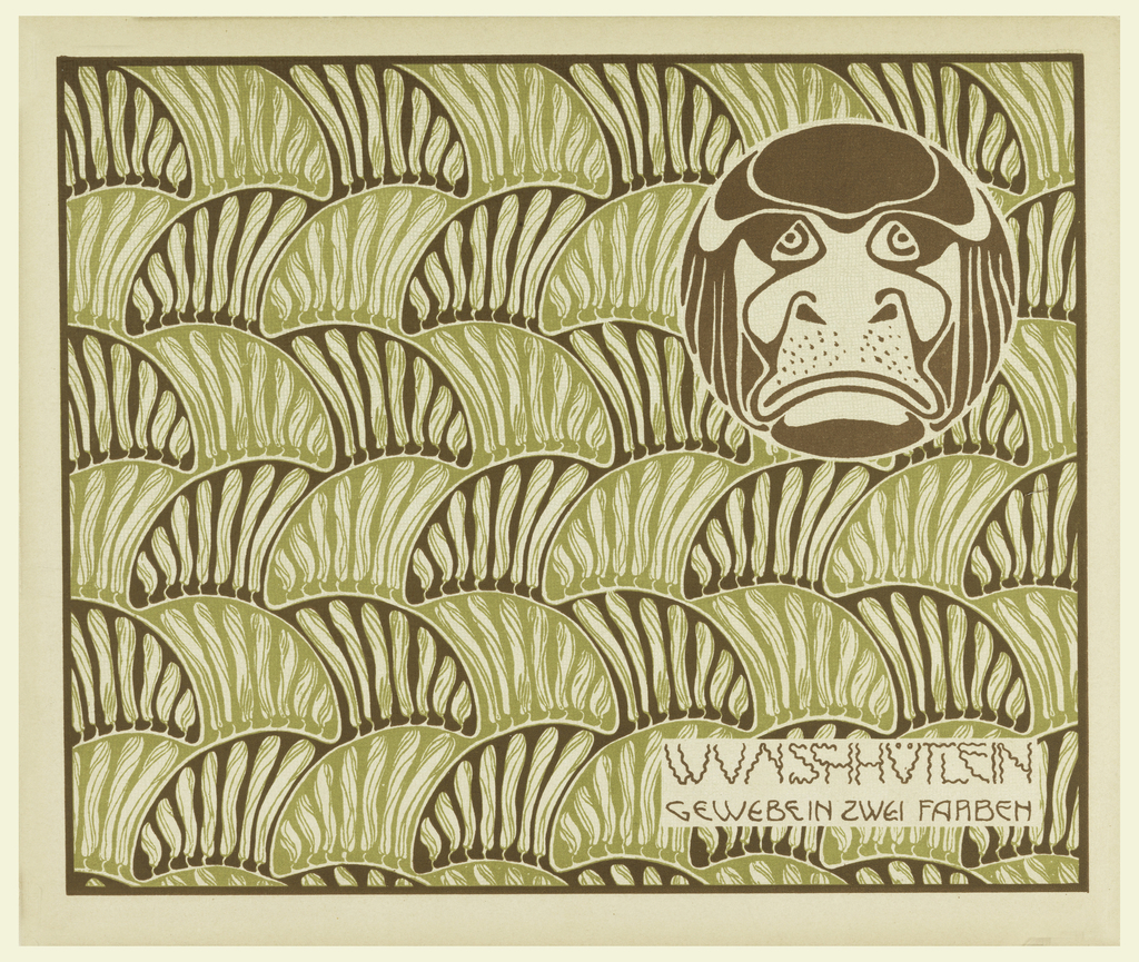Stylized brown bovine head in circle upper right. Abstract elongated pod shapes in pale green and brown. Horizontal text block lower right, in brown: WUNSCHHUTLEIN / GEWEBE IN ZWEI FARBEN. Verso: Title of portfolio in gray, upper left.  Pattern of alternating squares, checked and circle motifs.