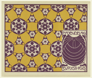 Stylized purple owl in text box lower right, in purple: BODENBELAG / EURYSTHEUS.  Alternating circle, triangle and ribbon motifs in purple and orange on cream ground. Verso:  Title of portfolio in gray in text box, upper left.  Circle-shaped flowers with wavy stems in gray on cream.