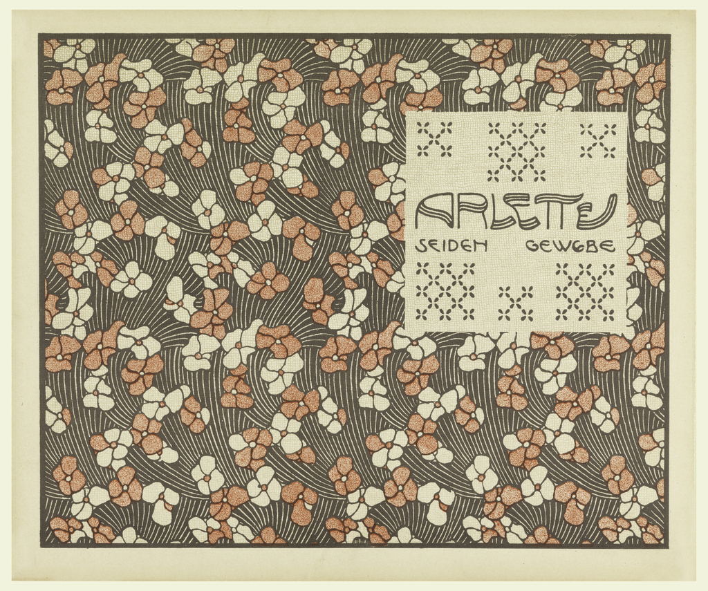 Title in brown on cream ground with brown cross-stitch pattern in text block, upper right, in brown: ARLETTE / SEIDEN GEWEBE. Pale red and cream flowers on brown wave-patterned background. Verso:  Title of portfolio in gray in text block, upper left.  Vertical arrowhead shapes alternating with abstract clover-like pattern in gray on cream.