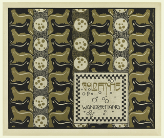 Text in box bottom right with leaf and vine meander around border; text in gold and black: GOLDFISCHE / WANDBEHANG. Vertical stripes of reciprocal gold and black fish with stripes of circles and dots in gold and black. Verso: Title of portfolio in gray in text block upper left.  Stylized wave/floral motif in gray on cream.