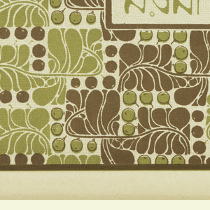 Text with stylized face in brown in vertical box center left: SCHABLONIERTER WANDDECOR / AGAHIPPE. Design of stylized leaves and berries in brown and pale green. Verso:  Title of portfolio in gray in text box upper left.  Abstract berry and leaf pattern in gray on cream.