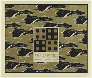 """Checked motif in gold and black in text box, lower center: EIN MARIENTAG / BUNTPAPIER. Stylized birds in alternating in gold and black """"flying"""" towards right. Verso:  Title of portfolio in gray in text box upper left.  Checked flower shapes with small checked motifs in gray on cream."""