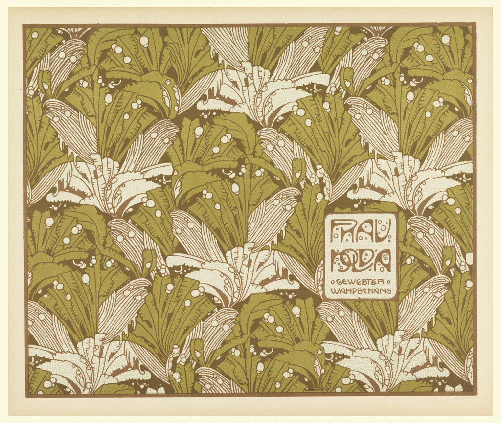 Text in brown in small box lower right: FRAU / NOLDA / GEWEBTER / WANDBEHANG.  Stylized palm fronds in pale green and brown. Verso:  Title of portfolio in gray in text box upper left.  Pattern of geometricized leaves in gray on cream.