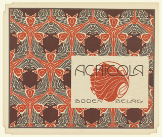 "Stylized organic design in red on cream in text box, lower right: ACRICOLA / BODENBELAG.  Abstract ""bat"" figures in red, gray and maroon on cream ground. Verso:  Title of portfolio in gray in text box upper left.  Interlocking sprout-like shapes in gray on cream."