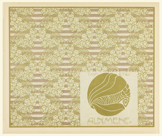 Stylized sea creature motif in pale green in text box, lower right: TAP ETE / ALYMENE.  Stylized seaweed and bubbles in pale green on background of horizontal brown stripes.