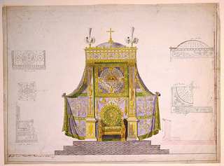 Elevation of an elaborate throne and canopy at the center, rendered in full color; side elevation of canopy, in line, right.  Side elevation of throne and other details, in line, left.  The canopy is composed of a flat dome, supported at rear by Ionic pilasters, unsupported at front.  Dome surmounted by cross and plumes.  Drapery behind it, bearing design of ecclesiastical motifs, a panel of the Lamb of God, directly above throne.