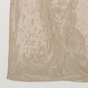 Side panel from the wedding dress of Mme. Hector Guimard (née Adeline Oppenheim), embroidered in ivory silk on silk net of the same color. The panel is arranged to fasten above shoulder and descend, widening gradually from top to bottom, hanging free over dress; the embroidery is designed in flowing, delicate lines, vaguely foliate, and flows down from the shoulder, slants toward the corner, and spreads into a fuller pattern to form a border.