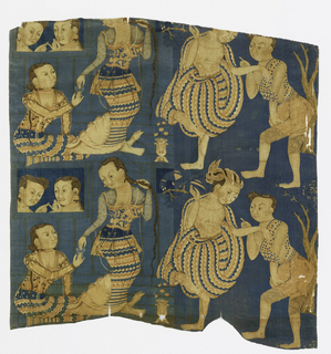 "Figural groups from Burmese iconography, in close-set vertical repeat about 16"" high. Blue ground, right half textured with tiny white dots and left half with faint yellow bars suggesting architectural framework. Reds browns, and tans. two wide cloth selvedges with double warps."
