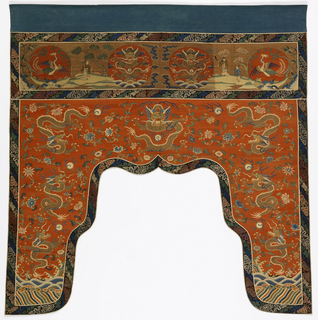 Table frontal with a rectangular border at the top and long rounded tabs at the sides. Red-orange silk ground with design of dragons, flowers and symbols in gold and colored silks.  The border shows two dragons, figures in a landscape, and cranes.  Bound with brocaded ribbon and backed with blue cotton.