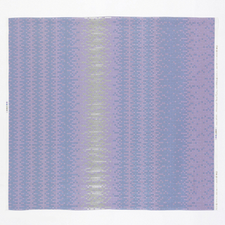 Pattern is composed of a grid of colored squares, making a design of vertical stripes in mauve and blue with an off-center diffused stripe of silver