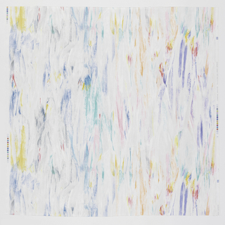 Vertical brushstroke dashes in white and bright colors