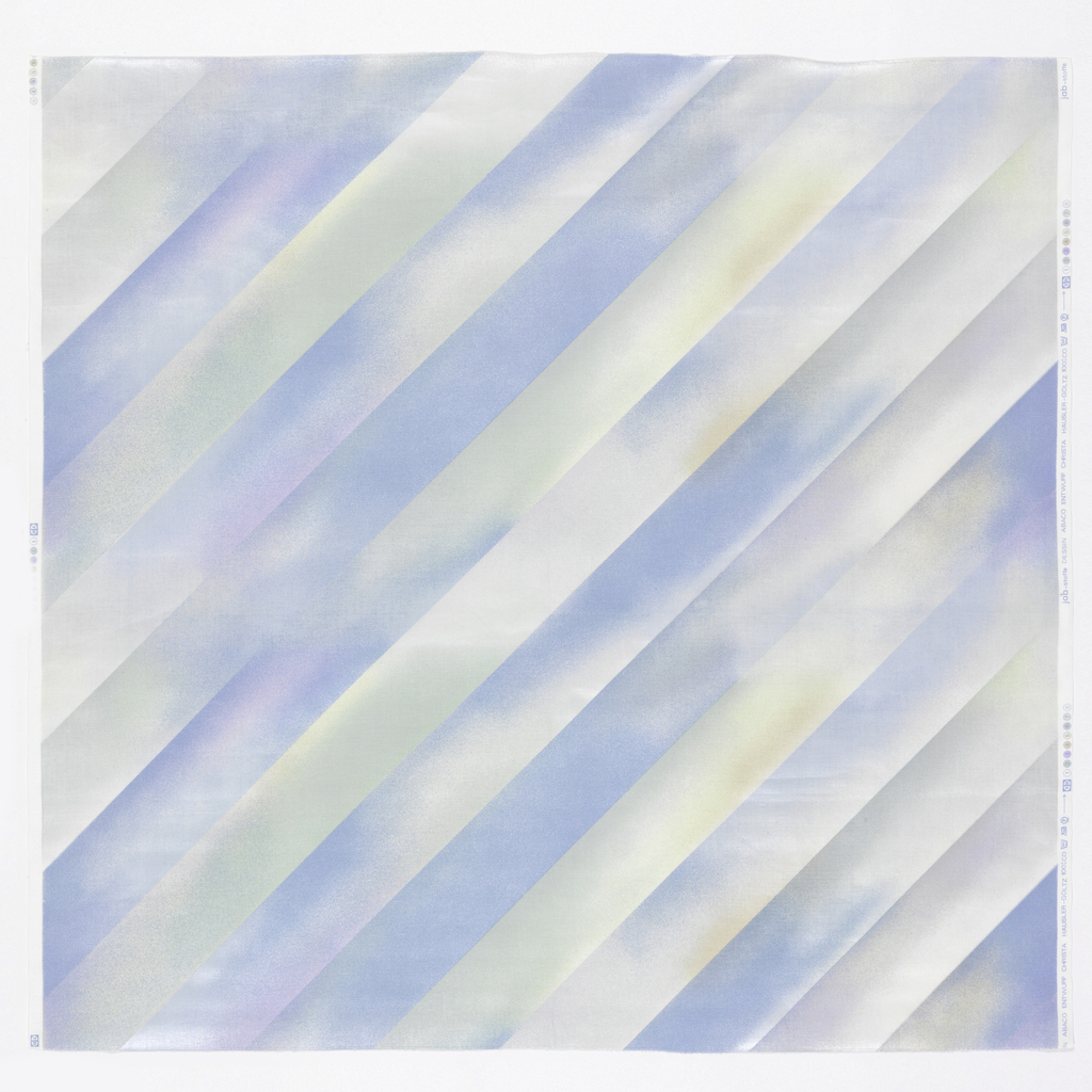 Wide diagonal airbrushed stripes in blue, pink, and yellow.